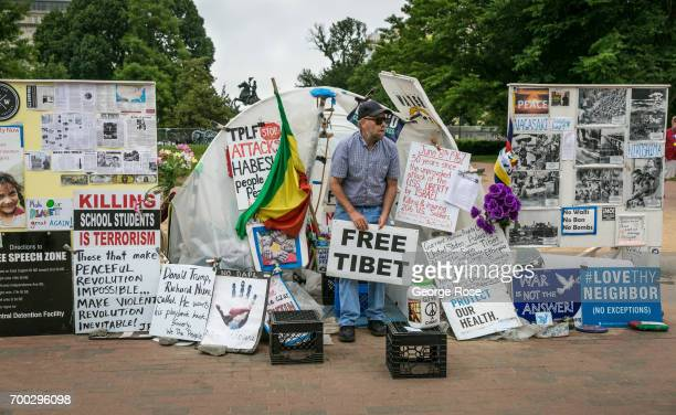 A protest zone has been set up in front of the White House as viewed on June 5 2017 in Washington DC The nation's capital the sixth largest...