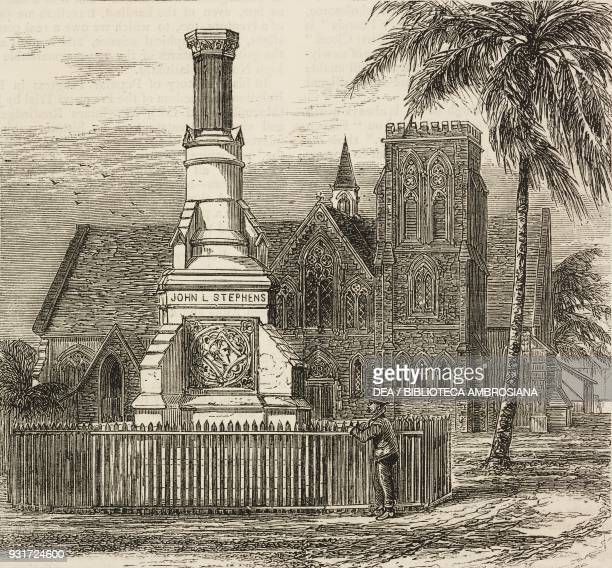 Protestant church and monument to John Lloyd Stephens Colon along the Panama Railway the isthmus of Darien Panama illustration from the magazine The...