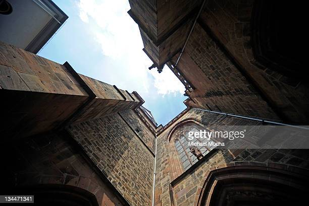 protestant church, friedberg, hesse, germany, europe - michael mucha stock-fotos und bilder