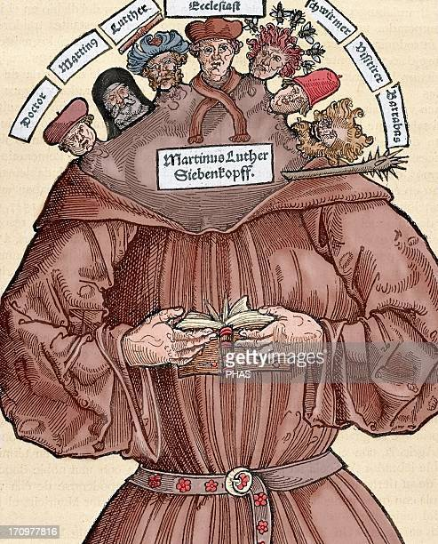 Protestant Reformation 16th century Germany Satire against Martin Luther Colored engraving