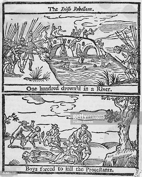 Protestant settlers are massacred by local Catholics on Portadown Bridge over the River Bann in Northern Ireland, during the Irish Rebellion, 1641....