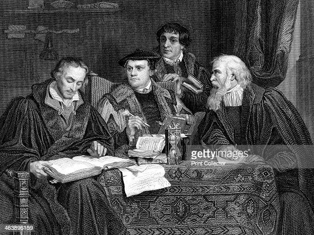Protestant theologians working on Luther's translation of the Bible. Left to Right: Philip Melancthon , Martin Luther , Pomeranus and Cruciger .