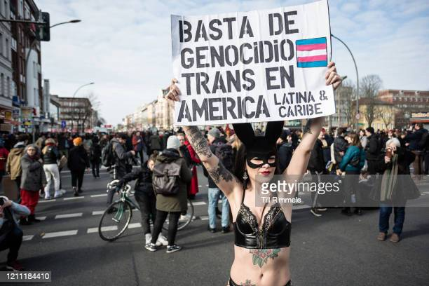 Protester advocating to end violence against transgender people in Latin America during the march for World Women's Day on March 08 2020 in Berlin...