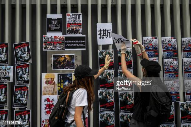 Protester are seen placing posters outside the Central Government Offices in Hong Kong on September 28 Pro Democracy Protester Have Been Protesting...