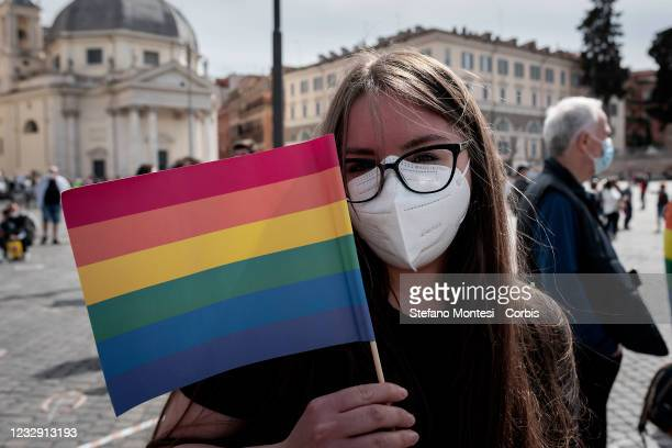 Protester at demonstration in favor of Zan Decree, to Piazza del Popolo, to ask the government to approve the law, blocked in the senate due to...