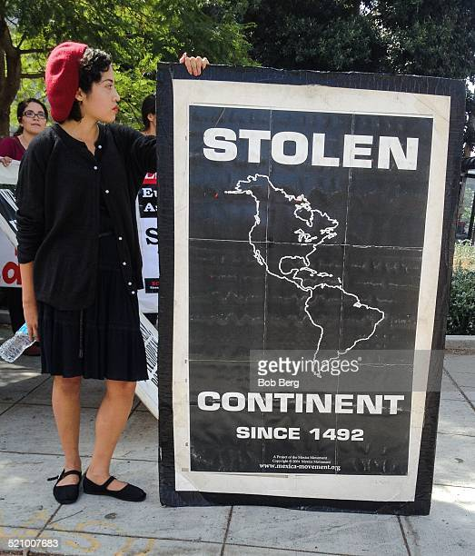 Protester at the Protest And March Against Columbus Sunday October 12 2014 in Los Angeles