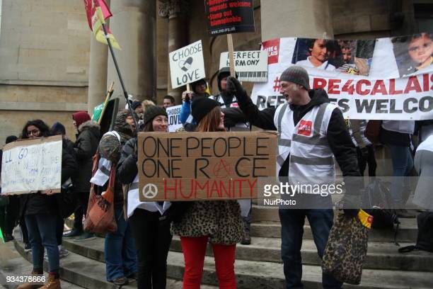 Protester at UN AntiRacism Day March in London UK on 17 March 2018 The annual Stand Up To Racism demonstration is held on United Nations AntiRacism...