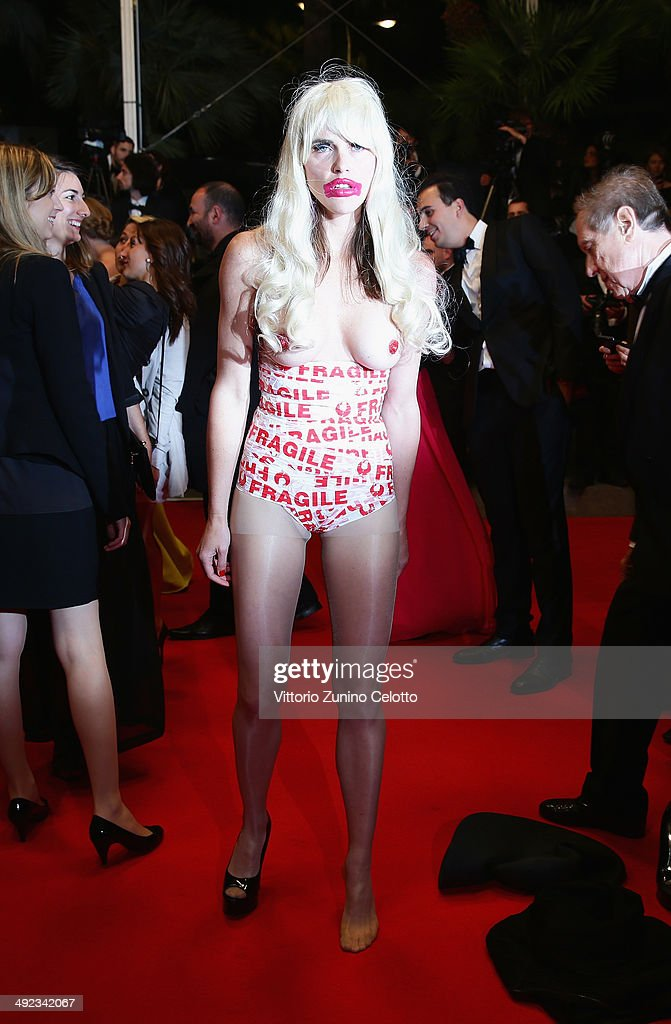 A protester attends the 'Maps To The Stars' premiere during the 67th Annual Cannes Film Festival on May 19, 2014 in Cannes, France.