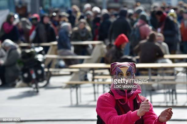 A protester blows a whistle during a gathering by opponents to the scrapped controversial NotreDamedesLandes airport project and ZAD activisits to...