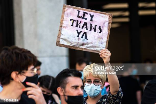 Protester carrying placard reading 'Trans Law now' during a demonstration against transphobia.The Spanish Congress will approve a bill that would...