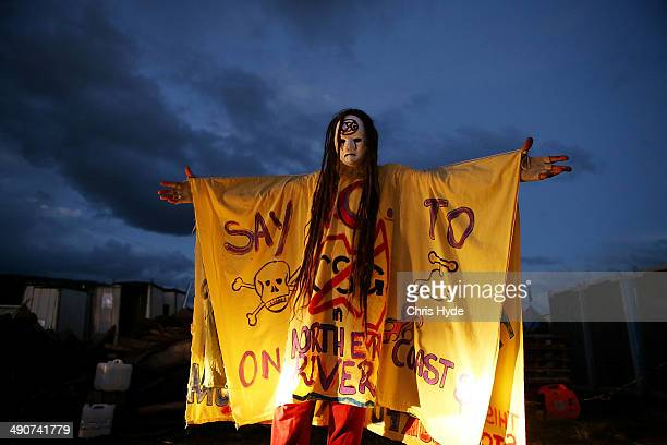 A protester celebrates at the Bentley blockade site on May 15 2014 in Lismore Australia Antigas protesters are celebrating today after a drilling...