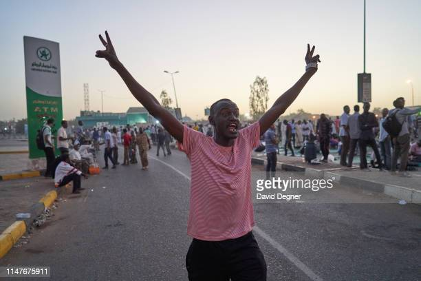 A protester chanting soon after iftar on May 07 2019 in Khartoum Sudan