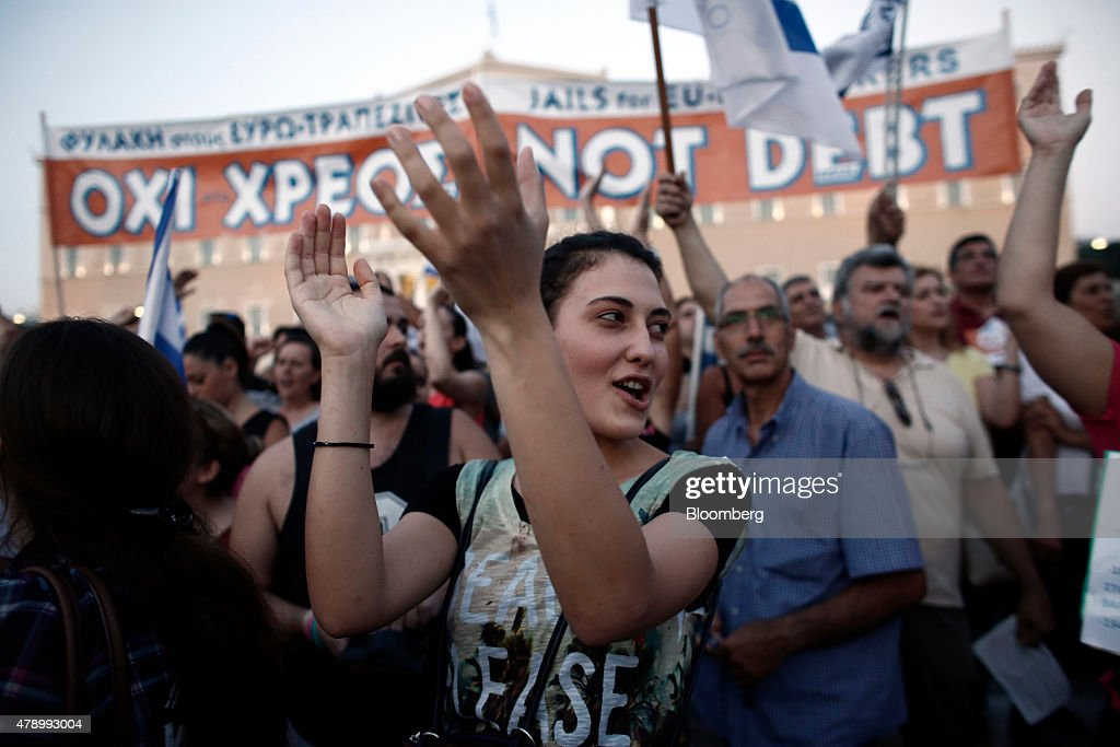 Anti Austerity Demonstration In Support Of Greek Government : News Photo