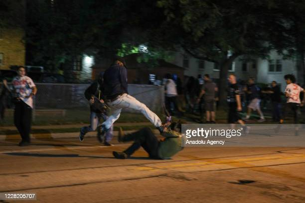 Protester clashes with armed civilian Kyle Rittenhouse during confrontations between protesters and armed civilians, who claimed to protect the...