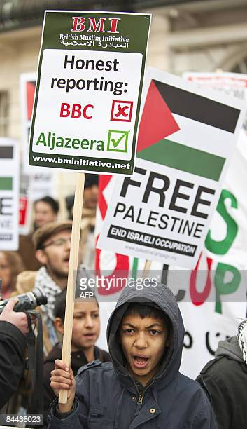 A protester demonstrates in London on January 24 against the BBC who have faced intense criticism from the British government and campaigners after...