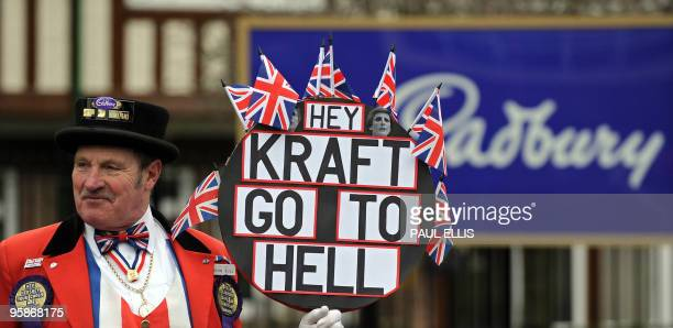 A protester demonstrates outside the head office of Cadbury in Birmingham central England on January 19 2010 British confectioner Cadbury said...