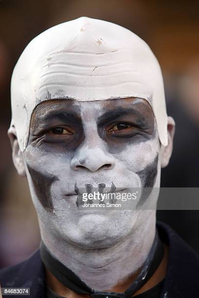 A protester disguised as death performs against the Munich Security Conference and the NATO policy at Marienplatz Square on February 7 2009 in Munich...