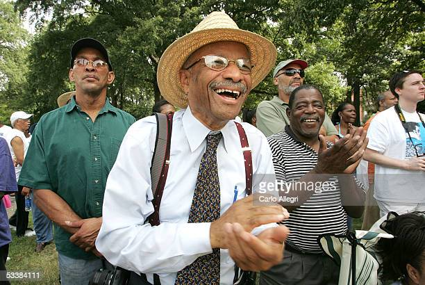 Protester Dr. Robert J. Smith from Memphis laughs during a protest against the name of Nathan Bedford Forrest Park August 13, 2005 in Memphis,...