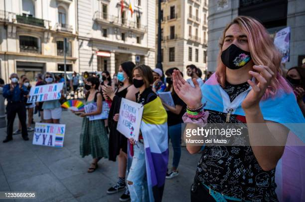 Protester during a demonstration against transphobia.The Spanish Congress will approve a bill that would allow the legal recognition of...