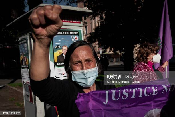 Protester during a demonstration of the feminist movement and the Kurdish people against Turkey's decision to withdraw from the Istanbul Convention...