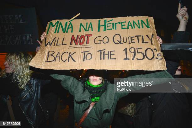 A protester during a Strike 4 Repeal campaign march held today in Dublin city center to seek a referendum on repealing the eighth amendment The...