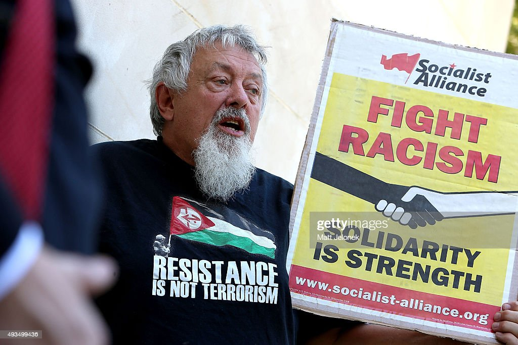 A protester during the Australian Liberty Alliance press conference on October 21, 2015 in Perth, Australia. Mr Wilders launched the anti-Islam Australian Liberty Alliance political party on Tuesday night. The venue of the launch was kept secret to avoid protesters.