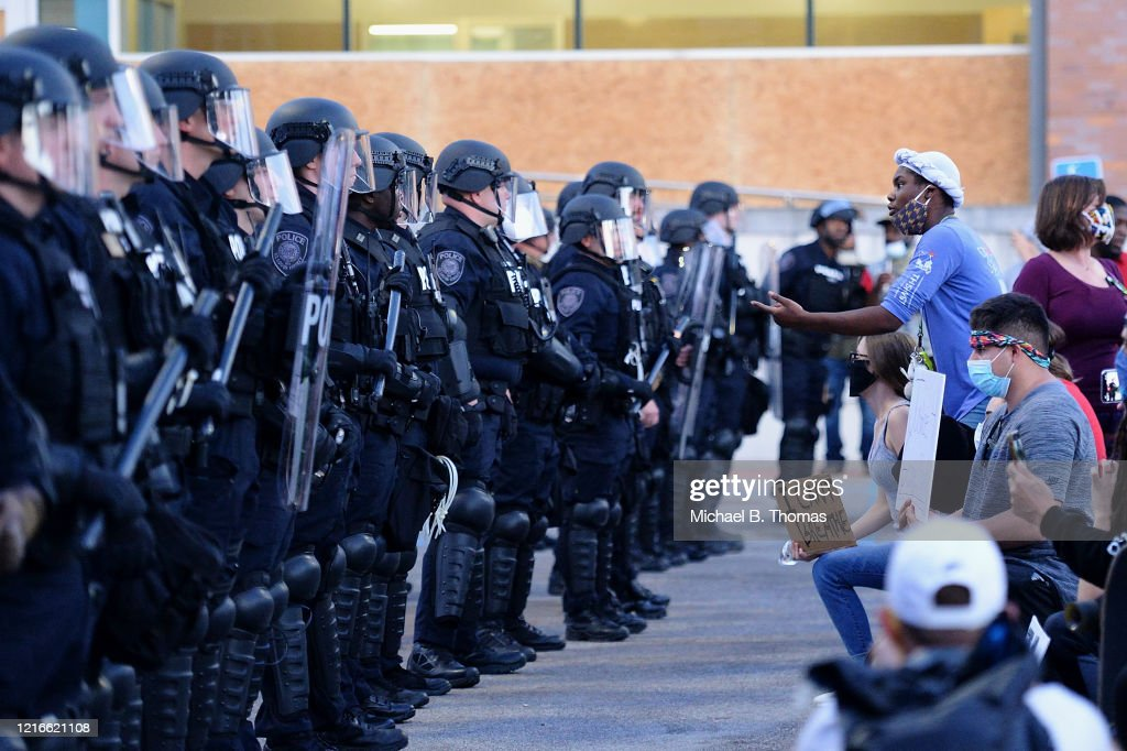 Protesters Demonstrate In Ferguson, Missouri Against Death Of George Floyd By Police Officer In Minneapolis : News Photo