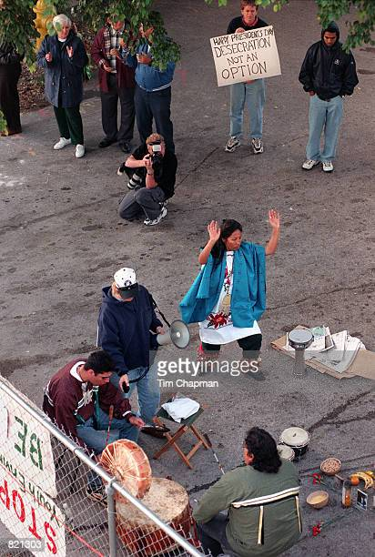 Protester Geeta Constantino does a Spirit Dance to stop a developer from destroying an ancient Tequesta Indian circle at the mouth of the Miami River...