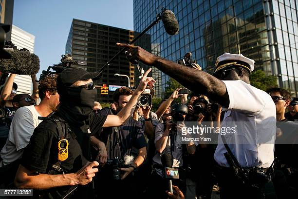 CLEVELAND OHIO TUESDAY JULY 19 2016 A protester gets into an argument with Police Chief Calvin Williams outside the 2016 Republican National...