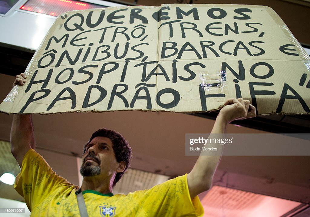 Activists Protest World Cup In Rio De Janeiro : News Photo