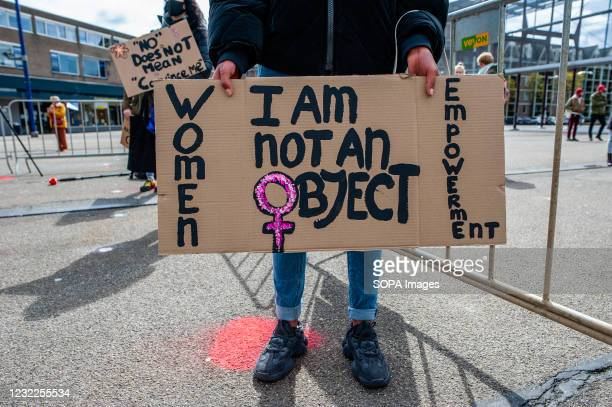Protester holds a placard during the demonstration. After the tragic murder of Sarah Everard, vigils and demonstrations under the banner of a growing...