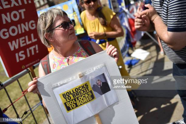 A protester holds a placard saying Bollocks to Brexit Bollocks to Boris outside the Houses of Parliament in Westminster on the day Boris Johnson...