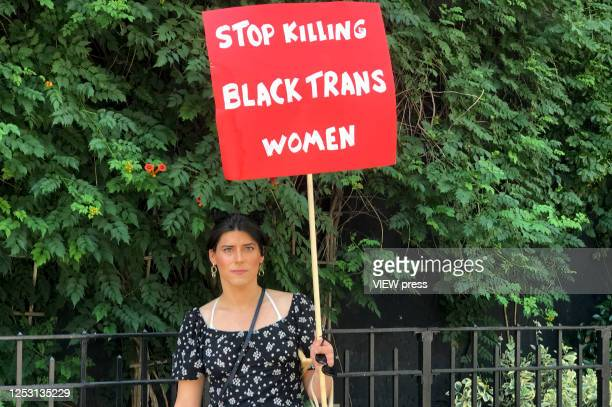 Protester holds a sign during the Queer March for Black Lives on June 28, 2020 in New York City. The LGBTQ+ community celebrates the 51st anniversary...