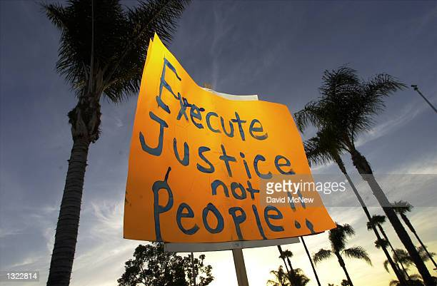 A protester holds a sign up against a backdrop of palm trees during an antideath penalty protest on the eve of the second federal execution in nearly...