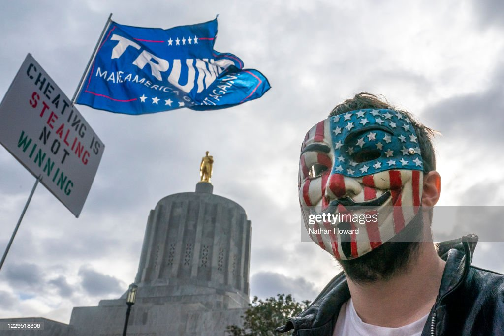 """Pro-Trump """"Stop The Steal"""" Rally Held At Oregon State Capitol : News Photo"""