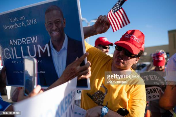 A protester in support of Desantis and Gillum gather outside the Supervisor of Elections office in Broward County Florida where a recount is taking...