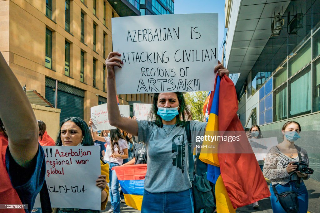 Demonstration In Yerevan Against The Azerbayan Attack : News Photo