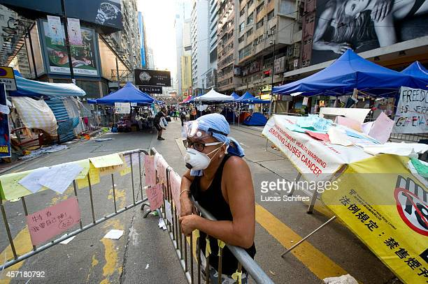 Protester in the shrinked 'Occupy Central' camp in Causeway Bay on October 14, 2014 in Hong Kong. At 6 AM on October 14, police surrounded the...
