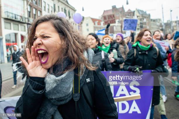 A protester is seen chanting slogans during the demonstration A day after the International Women's day a demonstration under the motto 'all...