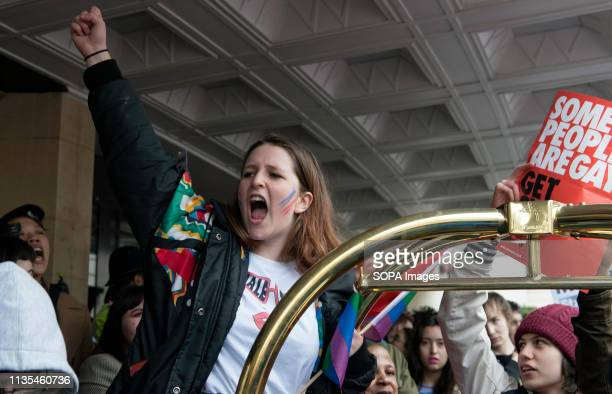 A protester is seen chanting slogans outside the Dorchester Hotel during the Protest condemning the new antiLGBTIQ laws brought in by the Sultan of...