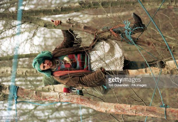 A protester keeps guard in the trees in Penwood south of Newbury to stop them being felled to make way for the controversial Newbury Bypass