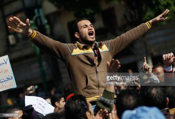 A protester leads a chant during antigovernment rally in Tahrir Square on the morning of January 31 2011 in central Cairo Egypt Protests continued...