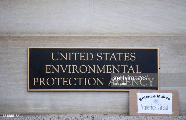 """Protester left a """"Science Makes America Great"""" sign in front of the Environmental Protection Agency during the Science March in Washington on Earth..."""