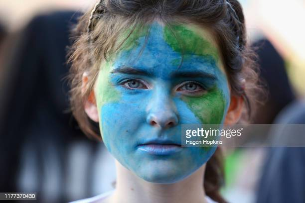 Protester looks on during a strike to raise climate change awareness on September 27, 2019 in Wellington, New Zealand. Rallies held across New...