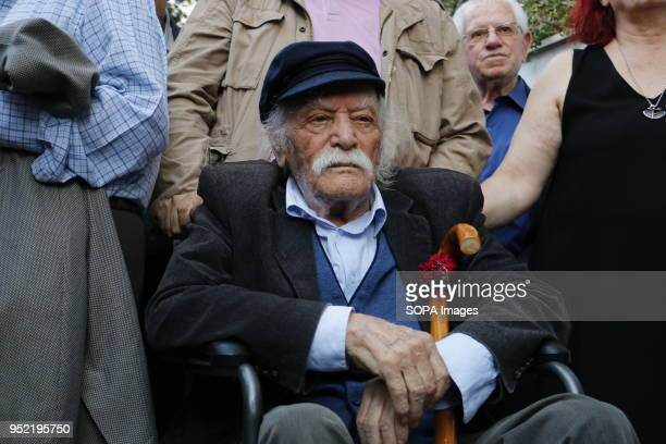 Protester Manolis Glezos seen at the demonstration Greek Word War 2 Resistance members demonstrate in Athens demanding from Germany to pay the War...