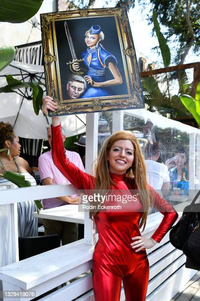 Protester poses for portrait at the #FreeBritney March starting in Plummer Park on July 18, 2021 in West Hollywood, California. The group is calling...
