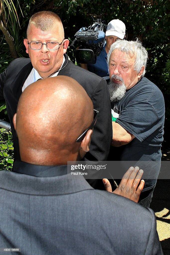 protester Seamus Doherty is prevented access to a public access staircase by security following Dutch MP Geert Wilders press conference outside the Western Australian Parliament House on October 21, 2015 in Perth, Australia. Mr Wilders launched the anti-Islam Australian Liberty Alliance political party on Tuesday night. The venue of the launch was kept secret to avoid protesters.