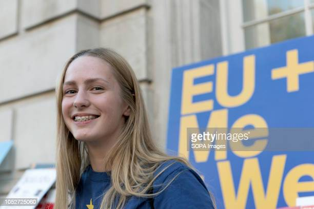 Protester seen at the Cabinet office building during a huge demonstration organised by the People's vote campaign The rally gathered at Park Lane and...