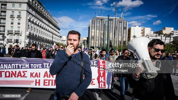 A protester seen chanting slogans on a megaphone during a 24 hour strike Communistaffiliated PAME labor union members called for a rally in central...