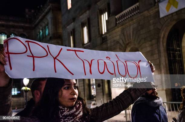 A protester seen displaying a poster with the text 'traitor PPK' in reference of the current President of Peru Pedro Pablo Kucznski A group of...